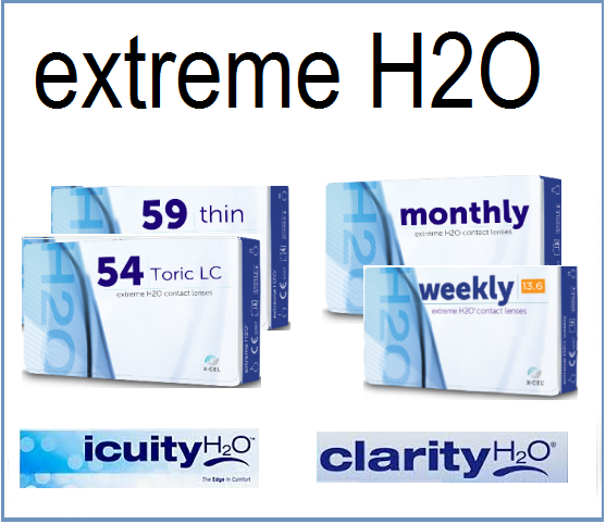 Best Price Extreme H2O Contact Lenses - Extreme H2O WEEKLY, Extreme H2O MONTHLY, Extreme H2O 54, Extreme H2O 59, Extreme H2O DAILY, ICUITY H2O, CLARITY H2O